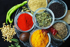 Spices Background. Various Spices arranged in glassware Royalty Free Stock Images