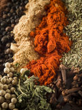 Spices background. Background of various colorful spices royalty free stock photos