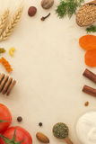 Spices background and food Royalty Free Stock Image