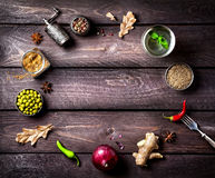 Spices background Stock Photo
