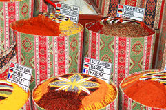 Spices Bags On Spice Bazaar Stock Photo