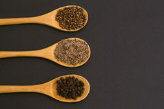 Spices on bamboo spoons. coriander, black pepper, dill. Royalty Free Stock Images