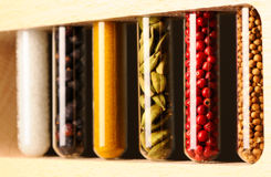 Spices in beakers Stock Image