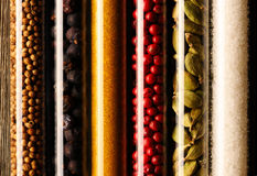 Spices in beakers close-up Royalty Free Stock Photo
