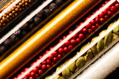 Spices in beakers close-up Royalty Free Stock Image