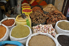 Spices and beans market in Morocco Royalty Free Stock Photo