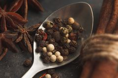 Spices on black old table. Various kinds of pepper in metal spoon, star anise and cinnamon on dark old table or background. Dark moody photo. Selective focus Royalty Free Stock Photo
