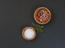 Spices on a black slate Royalty Free Stock Images