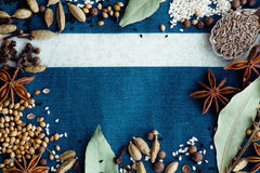 Spices and blue stock image