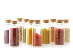 Spices in bottles Royalty Free Stock Images