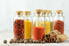 Spices in bottles Stock Photos