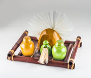 Spices bottles and napkin holder Royalty Free Stock Photography