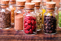 Spices in bottles Royalty Free Stock Image