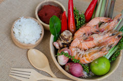 Spices in bowl and prawn Stock Image