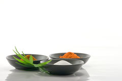 Spices in Bowls. Different spices in black bowls Royalty Free Stock Image