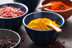 Spices in bowls: curry, pink and black pepper, paprika powder Stock Photos