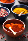 Spices in bowls: curry, pink and black pepper, paprika powder Royalty Free Stock Photography