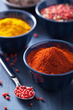 Spices in bowls: curry, pink and black pepper, paprika powder Royalty Free Stock Image