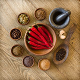 Spices in bowls and mortar Royalty Free Stock Photography