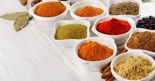 Spices in bowls Royalty Free Stock Image