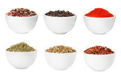 Spices in bowls set Royalty Free Stock Photography