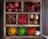 Spices in the box Royalty Free Stock Photos