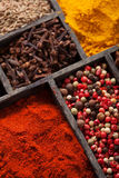Spices in box pink and black pepper, ground paprika, curry, anis Stock Image