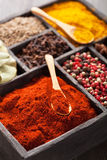 Spices in box: pink  black pepper, paprika powder, curry, bay le Royalty Free Stock Image