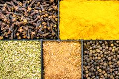 Spices in box. top view. royalty free stock photos