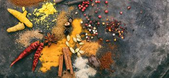 Variety of colorful spices on metal rusty background, top view, copy space, banner. Spices with bright colors on metal rusty background, top view, copy space Royalty Free Stock Photos