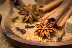 Spices and brown sugar for a Christmas baking in wooden bowl Stock Photos