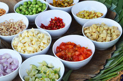 Spices. In bulk condiment cups Stock Photography