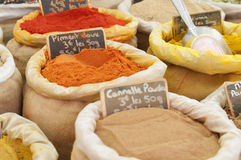Spices in Bulk at French Market Royalty Free Stock Photos