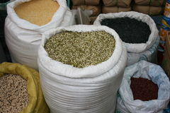 Spices in bulk. Spice market Spices in bulk  bags Stock Photography