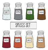 Spices in cans set sketch. Seasoning collection. Hand drawing, doodle style. Vector illustration Royalty Free Stock Photography