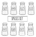 Spices in cans set sketch. Seasoning collection. Hand drawing, doodle style. Vector illustration Stock Photos
