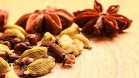 Spices cardamom anise stars and cloves Stock Photo