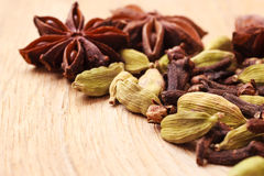 Spices cardamom anise stars and cloves Royalty Free Stock Photo