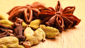 Spices cardamom anise stars and cloves Royalty Free Stock Images