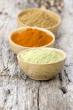 Spices - cardamon, chili, cinnamon Royalty Free Stock Images