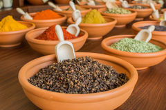 Spices in ceramic bowls. Spices in bowls on table royalty free stock photography