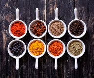 Spices in ceramic bowls Stock Photo