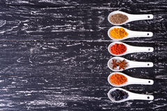 Spices in ceramic bowls Royalty Free Stock Photography