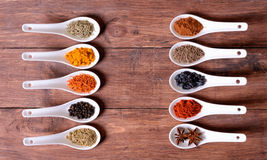 Spices in ceramic bowls Stock Image