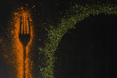 Spices on chalkboard Stock Photo