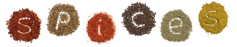 Spices chilli, curry, saffron,corriander, cumin Royalty Free Stock Image