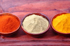 Spices. Chilli, Turmeric and coriander on wooden bowl and tray Stock Images