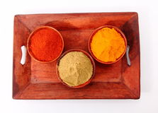 Spices. Chilli, Turmeric and coriander on wooden bowl and tray Stock Photo