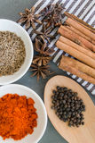 Spices: chillie powder, cinnamon stick, black pepper, cumin seeds and clove flower. Various spices arranged on grey background Royalty Free Stock Photo
