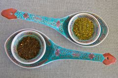 Spices in chinese bowls Royalty Free Stock Photo